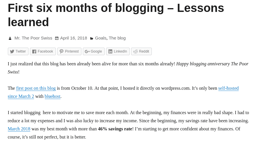 Example of display of a blog post