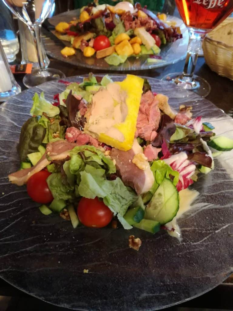 Nice French salad with foie gras