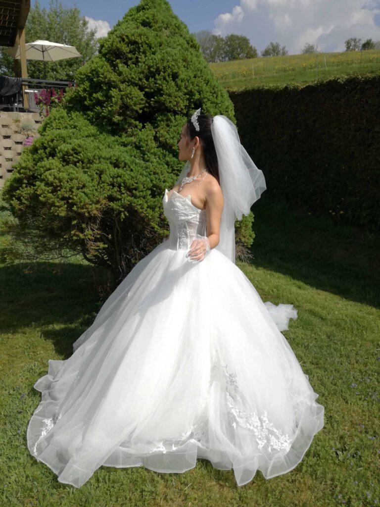 Mrs The Poor Swiss in her wedding dress