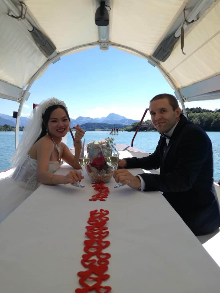 Beautiful view from the boat on our wedding