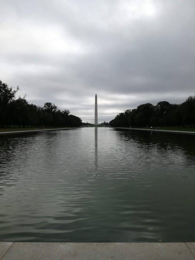 The Washington monument behind the reflection pool