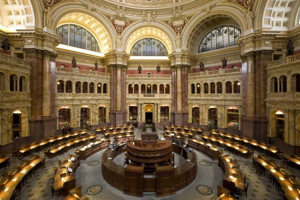 The inside of the Library of Congress