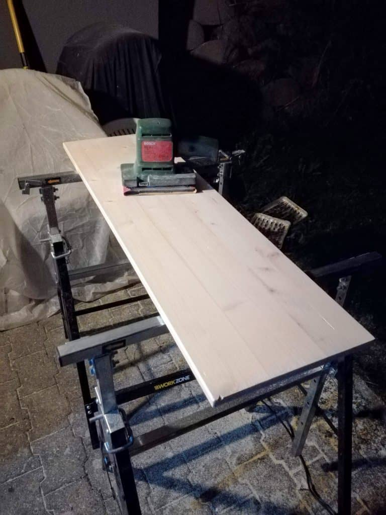 My DIY sanding station, at night