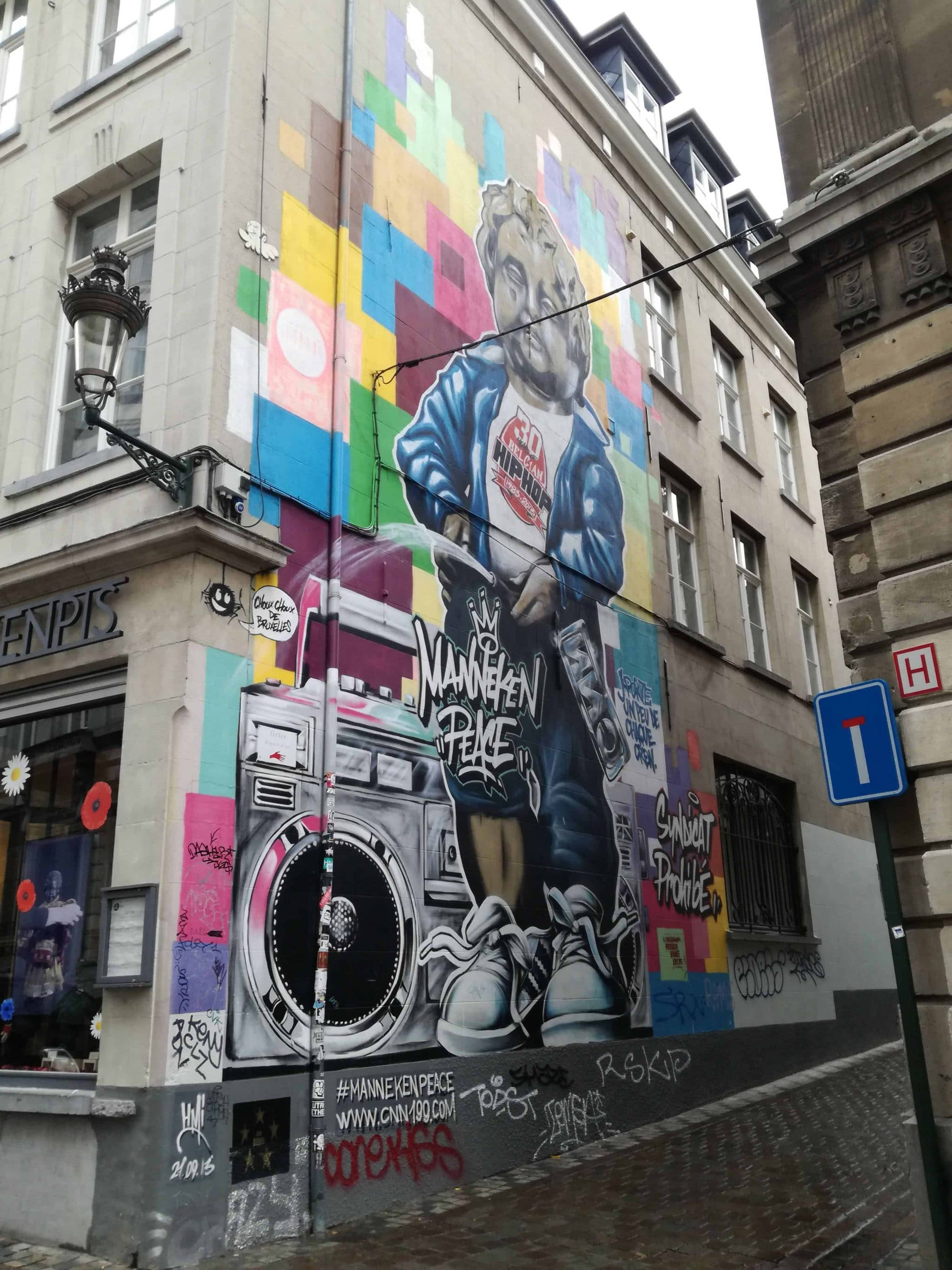 Wall painting of the Manneken Pis, in Brussels