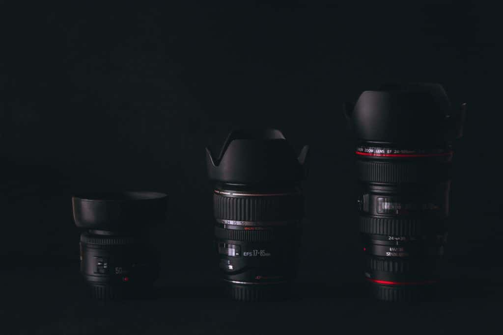 Different sizes of camera lens