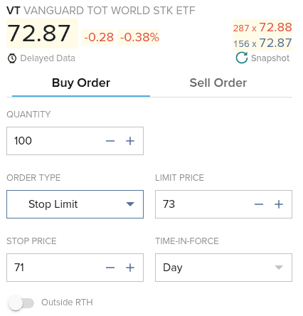 Stop Limit Order on Interactive Brokers