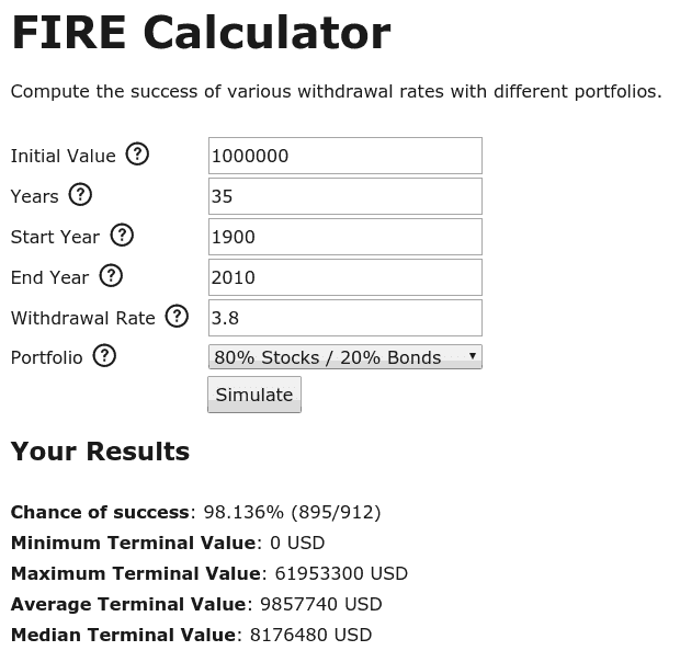 Example of using the FIRE calculator