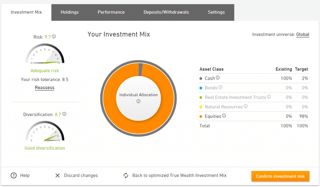 Customize your portfolio with True Wealth