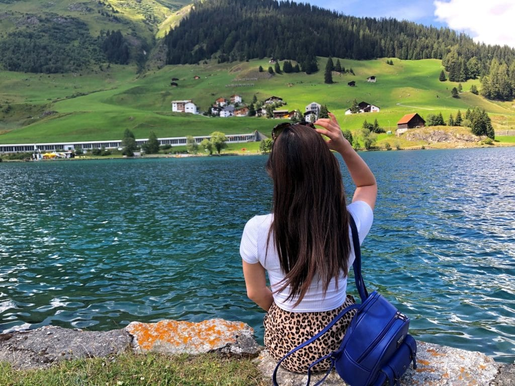 Mrs. The Poor Swiss next to Davos Lake