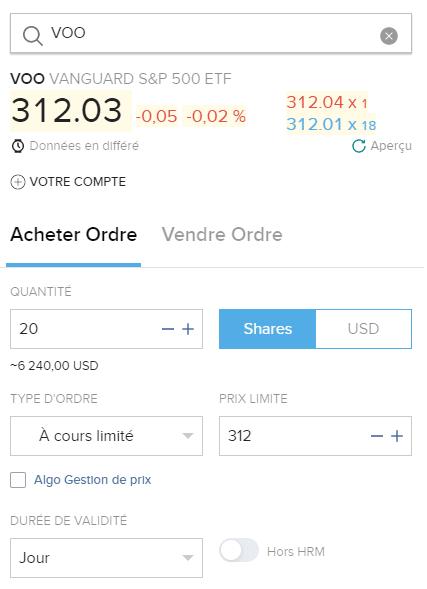 Acheter des parts de VOO depuis le portail client d'Interactive Brokers