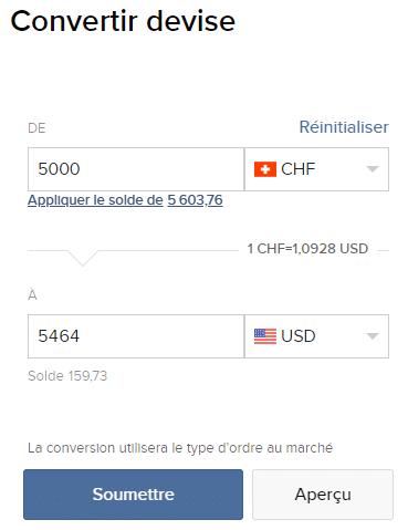 Convertir des devises depuis le portail client d'IB