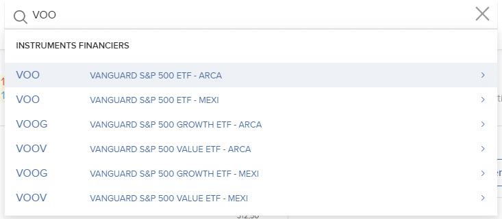 Rechercher VOO sur Interactive Brokers