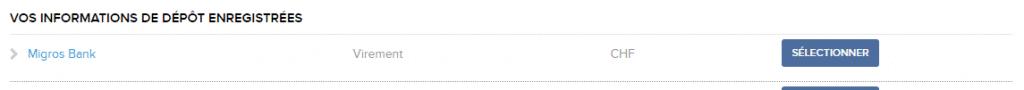 Sélectionner une nouvelle méthode de dépôt sur le portail client