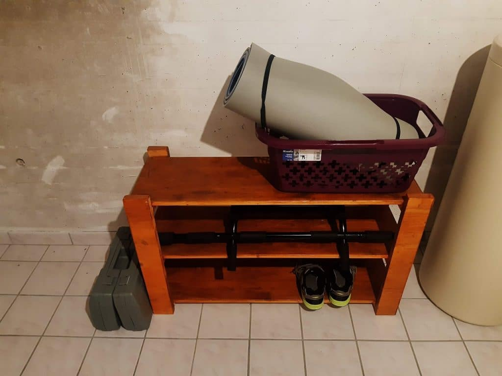 The equipment I am using to work out at home