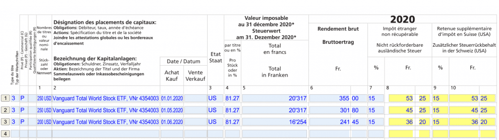 Example of a fille DA-1 form with Vanguard Total World