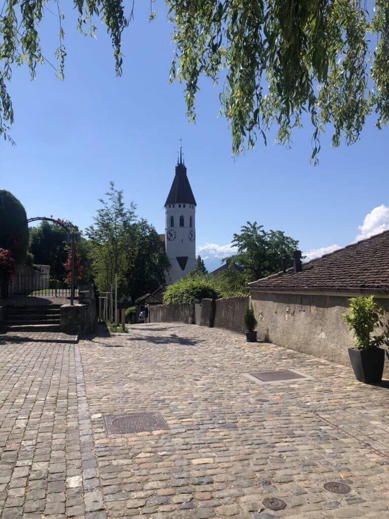 The nice church in the old town of Thun